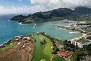 Aerial view of Nawiliwili Bay & Harbor in Lihue, on island of Kauai, Hawaii, USA.