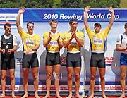 Lucerne, Switzerland.  GBR M4- Bow Alex PARTRIDGE, Rick EGINGTON, Alex GEGORY and Matt LANGRIDGE, Gold Medalist,  Men's Four. 2010 FISA World Cup. Lake Rotsee, Lucerne.  09:37:47   Sunday  11/07/2010.  [Mandatory Credit Peter Spurrier/ Intersport Images]