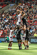 VANCOUVER, BC - MARCH 11: Ben Pinkelman (#2) of USAsnags the line out throw during Game # 31- New Zealand vs United States Cup QF3 match at the Canada Sevens held March 10-11, 2018 in BC Place Stadium in Vancouver, BC. (Photo by Allan Hamilton/Icon Sportswire)