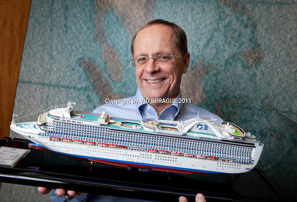 Alan Buckelew, CEO of Princess Cruises poses with a model of one of the cruise line's ships in Santa Clarita, CA. September 7,  2011. Photo by David Sprague