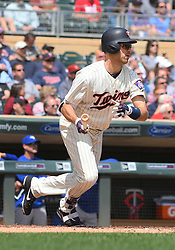 May 2, 2018 - Minneapolis, MN, U.S. - MINNEAPOLIS, MN - MAY 02: Minnesota Twins First base Joe Mauer (7) runs to 1st on a single during a MLB game between the Minnesota Twins and Toronto Blue Jays on May 2, 2018 at Target Field in Minneapolis, MN.The Twins defeated the Blue Jays 4-0.(Photo by Nick Wosika/Icon Sportswire) (Credit Image: © Nick Wosika/Icon SMI via ZUMA Press)