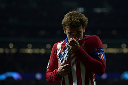 November 6, 2018 - Madrid, Spain - Antoine Griezmann of Atletico Madrid celebrates after scoring his sides first goal during the Group A match of the UEFA Champions League between AtleticoLucien Favre of Borussia Dortmund Madrid and Borussia Dortmund at Wanda Metropolitano Stadium, Madrid on November 07 of 2018. (Credit Image: © Jose Breton/NurPhoto via ZUMA Press)