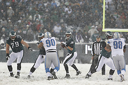 Philadelphia Eagles quarterback Nick Foles #9 looks downfield for a receiver during the NFL game between the Detroit Lions and the Philadelphia Eagles on Sunday, December 8th 2013 in Philadelphia. The Eagles won 34-20. (Photo by Brian Garfinkel)