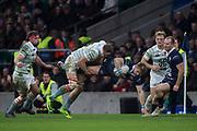 Twickenham, Surrey. UK.  Andrew HUNTER, up ends, Ed  DAVID, during the 2017 Men's Varsity Rugby Match, Oxford vs Cambridge Universities. RFU Stadium, Twickenham. Surrey, England.<br /> <br /> Thursday  07.12.17  <br /> <br /> [Mandatory Credit Peter SPURRIER/Intersport Images]