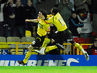 Photo: Leigh Quinnell/Sportsbeat Images.<br /> Watford v Bristol City. Coca Cola Championship. 01/12/2007. Watfords John-Joe O'Toole is congratulated by Lee Williamson after his goal.