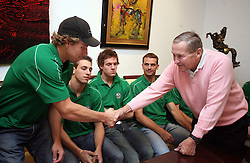 Egon Muric and Boris Kristancic at meeting of HD Tilia Olimpija with slovenian journalists before the new season,  on September 15, 2008 in Tivoli, Ljubljana, Slovenia.  (Photo by Vid Ponikvar / Sportal Images)