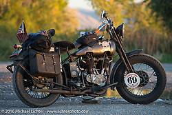 Dave Kafton's 1925 Harley-Davidson JD after Stage 11 (289 miles) of the Motorcycle Cannonball Cross-Country Endurance Run, which on this day ran from Grand Junction, CO to Springville, UT., USA. Tuesday, September 16, 2014.  Photography ©2014 Michael Lichter.
