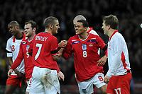 Photo: Tony Oudot/Richard Lane Photography. <br /> England v Switzerland. International Friendly. 06/02/2008.<br /> Jermaine Jenas of England celebrates his goal with David Bentley