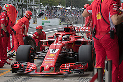November 9, 2018 - Sao Paulo, Sao Paulo, Brazil - SEBASTIAN VETTEL, of Scuderia Ferrari, drives during the free practice session for the Formula One Grand Prix of Brazil at Interlagos circuit, in Sao Paulo, Brazil. The grand prix will be take place Sunday, November 11. (Credit Image: © Paulo LopesZUMA Wire)
