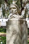 Statue bust sculpture of poet feminist writer Florbela Espanca 1894-1930, Evora, Portugal