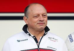 Alfa Romeo Team Principal Frederic Vasseur during day one of pre-season testing at the Circuit de Barcelona-Catalunya.