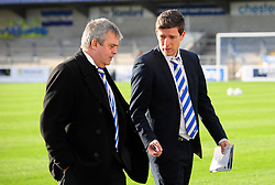 Bristol Rovers chairman Nick Higgs with Bristol Rovers Manager, Darrell Clarke - Photo mandatory by-line: Neil Brookman/JMP - Mobile: 07966 386802 - 22/11/2014 - Sport - Football - Chester - Deva Stadium - Chester v Bristol Rovers - Vanarama Football Conference