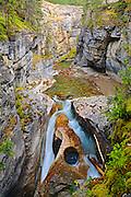 Maligne River  flows down the Maligne Canyon<br /> Jasper National Park<br /> Alberta<br /> Canada