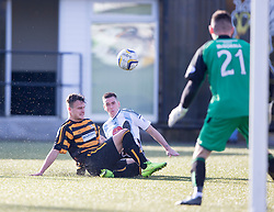 Alloa Athletic's Kyle Benedictus and Hearts Jamie Walker.<br /> Alloa Athletic 0 v 1 Hearts, Scottish Championship played at Recreation Park, Alloa.
