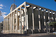 Israel Tel Aviv grand synagogue, Allenby street. The Shalom tower can be seen in the background