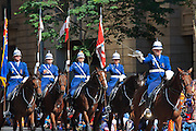 Queensland Police mounted horse unit in Brisbane ANZAC day 2014 parade <br />