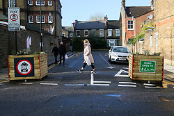 © Licensed to London News Pictures. 15/11/2020. London, UK. Signs at the entrance of Etherley Road in Haringey as it becomes the first street in Haringey, north London to close to motorcycles and cars, and only open for pedestrians and cyclist to increase road safety. <br /> Photo credit: Dinendra Haria/LNP