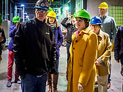 12 APRIL 2019 - NEVADA, IOWA: US Senator AMY KLOBUCHAR, (D-MN) talks to CHRIS CLEVELAND, Production Manager of Lincolnway Energy, (left) during a tour of the Lincolnway Energy ethanol plant in Nevada, IA. Sen. Klobuchar is touring Iowa this weekend to support her bid for the Democratic nomination of for the US Presidency. Iowa traditionally hosts the the first election event of the presidential election cycle. The Iowa Caucuses will be on Feb. 3, 2020.            PHOTO BY JACK KURTZ