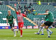 Sunderland Midfielder Chris Maguire (7) appeals for a hand ball from Plymouth Argyle Defender Ryan Law (27) during the EFL Sky Bet League 1 match between Plymouth Argyle and Sunderland at Home Park, Plymouth, England on 1 May 2021.