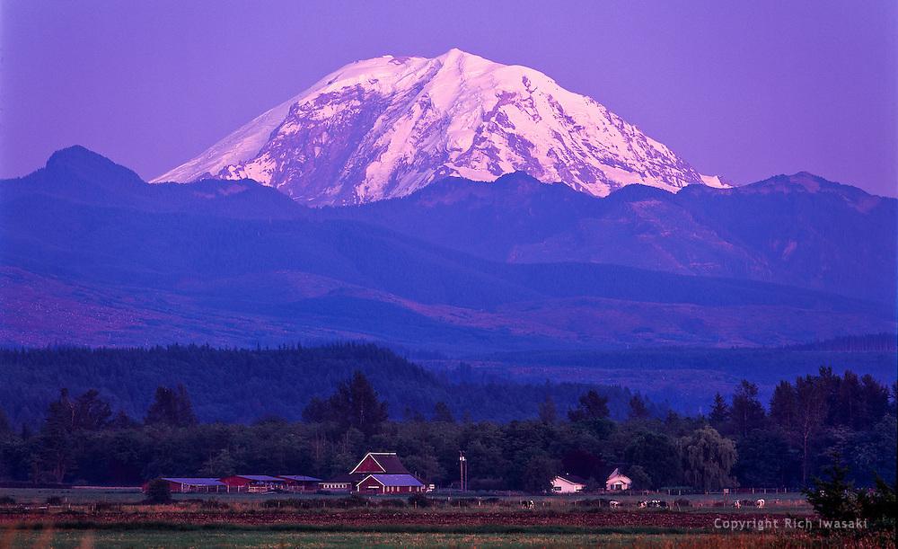 View of Mt. Rainier at sunset, King county, near Enumclaw, Washington