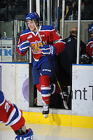 KELOWNA, CANADA - FEBRUARY 15:  Henrik Samuelsson #10 of the Edmonton Oil Kings enters the ice against the Kelowna Rockets on February 15, 2012 at Prospera Place in Kelowna, British Columbia, Canada (Photo by Marissa Baecker/Getty Images) *** Local Caption *** Henrik Samuelsson;