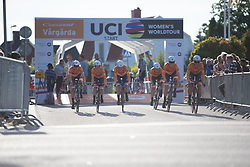 Boels-Dolmans Cycling Team rides off the start ramp of the Crescent Vargarda - a 42.5 km team time trial, starting and finishing in Vargarda on August 11, 2017, in Vastra Gotaland, Sweden. (Photo by Balint Hamvas/Velofocus.com)
