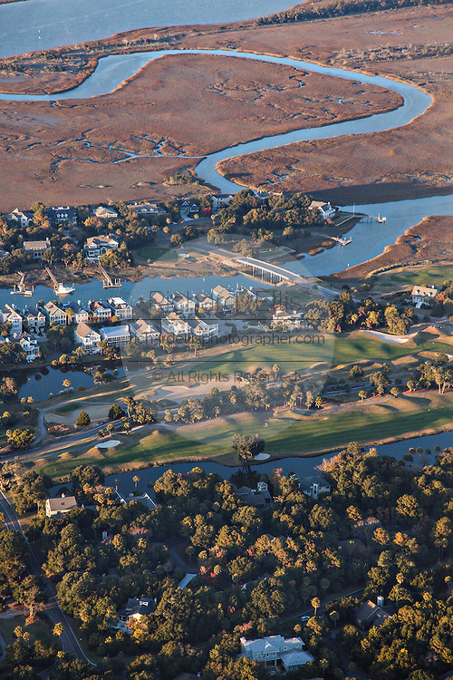 Aerial showing the River Course on Kiawah Island, South Carolina.