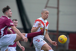 Stenhousemuir's Morgan Neill andsAirdrie's Leighton McIntosh. half time : Stenhousemuir 0 v 0 Airdrie, Scottish Football League Division One played 26/1/2019 at Ochilview Park.