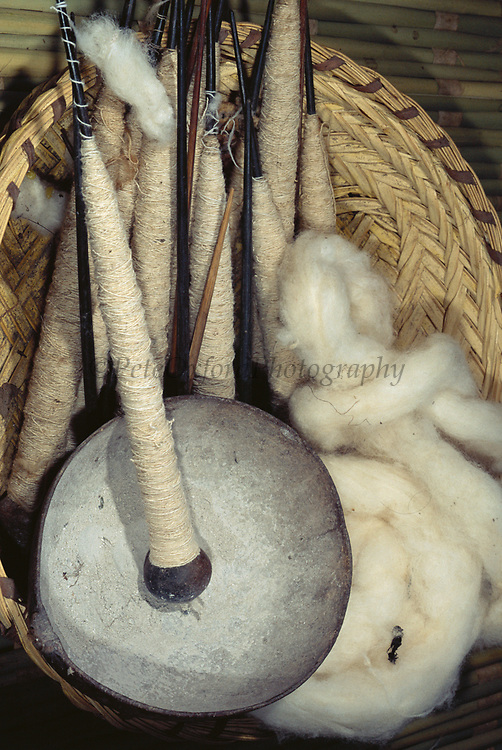 Machiguenga Indian Spinning Tools<br />Cotton used to make traditional clothing<br /><br /><br />Timpia Community, Lower Urubamba River<br />Amazon Rain Forest, PERU.  South America
