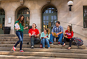 Students at the University of Wisconsin-Madison on the steps of Memorial Union. (Photo @ Andy Manis)