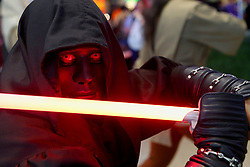 May 4, 2019 - Taguig, Philippines - A fan dressed as a Star Wars character participates in the Star Wars Day in a mall of Taguig City, the Philippines. Star Wars Day is celebrated on the 4th of May every year by  fans of the sci-fi movie franchise in different parts of the world. (Credit Image: © Rouelle Umali/Xinhua via ZUMA Wire)