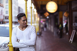 January 25, 2019 - Young man standing outside shopping arcade, Cape Town, Western Cape, South Africa (Credit Image: © Cultura via ZUMA Press)