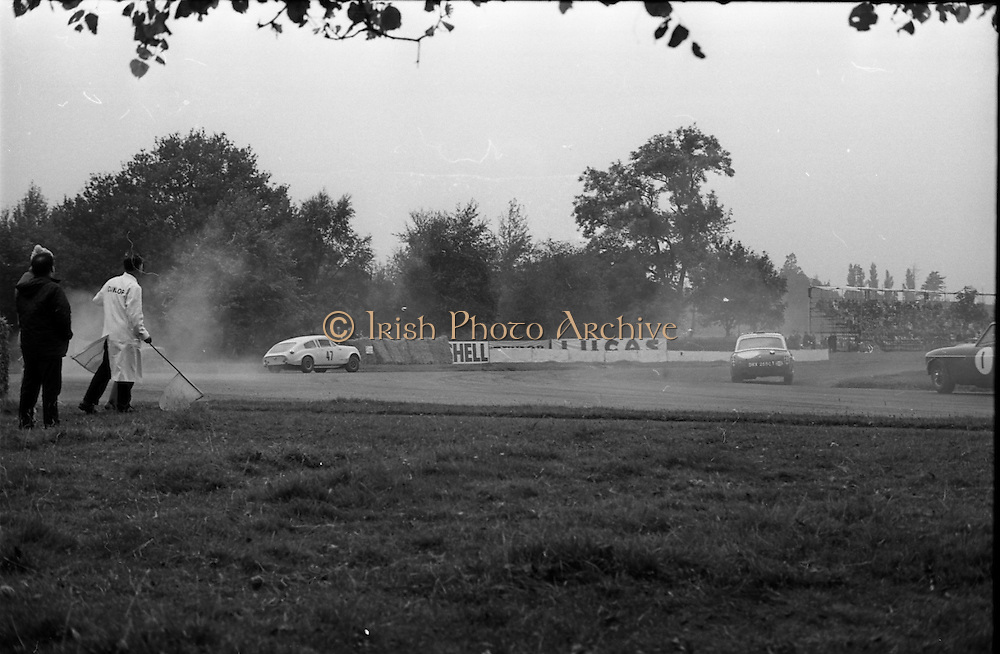 16/09/1967<br /> 09/16/1967<br /> 16 September 1967<br /> Phoenix Park Motor Racing, Kingsway Trophy Race, sponsored by Player and Wills (Ireland) Limited. Image shows J. Marsh in his Marcos (Mk II) (47) taking a wide line on a bend.