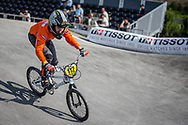 #112 during practice at the 2018 UCI BMX World Championships in Baku, Azerbaijan.