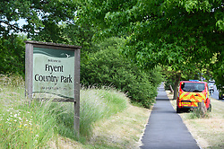 © Licensed to London News Pictures. 07/06/2020. LONDON, UK.  Police attend the scene at Fryent Country Park in Wembley.  According to reports, two women were found unresponsive and were pronounced dead at the scene.  Photo credit: Stephen Chung/LNP