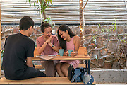 Customers sit and chat over coffee in the garden of Blue Tokai coffee in Champa Gali, New Delhi, India. Champa Gali is the latest and most intimate of Delhi's urban creative villages. (photo by Stuart Freedman/In Pictures via Getty Images)