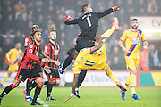 Bournemouth goalkeeper Artur Boruc (1), Crystal Palace midfielder Wilfried Zaha (11) during the Premier League match between Bournemouth and Crystal Palace at the Vitality Stadium, Bournemouth, England on 31 January 2017. Photo by Sebastian Frej.