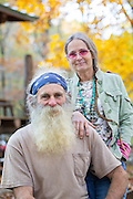 Portrait of Robert Runyan and Dorothy Walters outside of his home in Sugar Tree Hollow in Winslow, Arkansas, for Out Here Magazine. Photo by Beth Hall