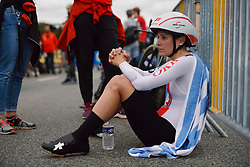 Elise Chabbey (SUI) recovers after the 2020 UEC Road European Championships - Elite Women ITT, a 25.6 km individual time trial in Plouay, France on August 24, 2020. Photo by Sean Robinson/velofocus.com