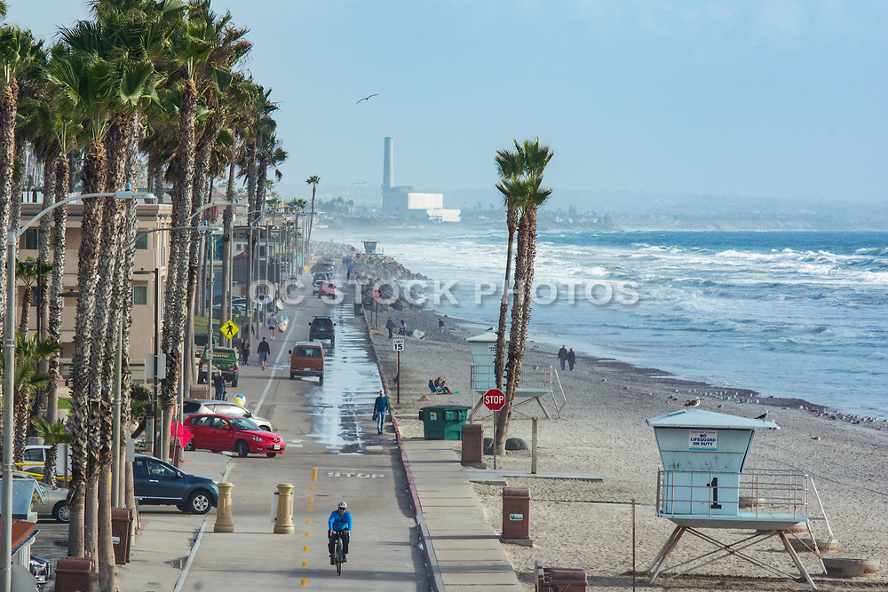 Carlsbad At The Beach With The Encina Power Station In The Background