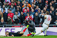 Harry Kane (Capt) (England) attempt at goal during the UEFA Nations League match between England and Croatia at Wembley Stadium, London, England on 18 November 2018.