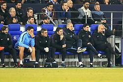 Manchester City's coaching staff (left to right) Lorenzo Buenaventura, Xabi Mancisdor, Rodolfo Borrell, Mikel Arteta and manager Pep Guardiola watch match action