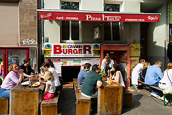 Small pizza restaurant on Bergmannstrasse in Kreuzberg Berlin Germany