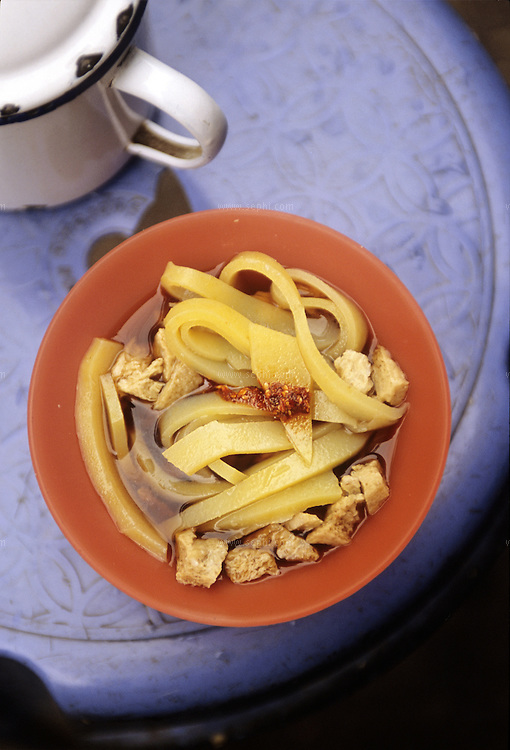 Lafing is a spicy noodle dish favorite among the Tibetan refugees in Dharamsala but also available in Tibetan centers in other parts of northern India.