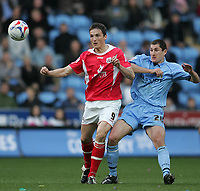 Photo: Lee Earle.<br /> Coventry City v Barnsley. Coca Cola Championship. 17/03/2007.Coventry's Colin Hawkins (R) and Barnsley's Istvan Ferenczi.