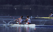 Barcelona, SPAIN. Gold medalist, GBR M2-, Bow Steven REDGRAVE and matthew PINSENT. 1992 Olympic Rowing Regatta Lake Banyoles, Catalonia [Mandatory Credit Peter Spurrier/ Intersport Images]