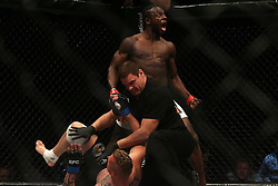 Pupanga Tresor (Red) celebrates after knocking out Pietie Coxen (Blue) during the sixth bout of the Extreme Fighting Championships, EFC 52 held at the Grand West Casino in Cape Town, South Africa on the 5th August 2016<br /> <br /> Photo by:   Shaun Roy / Real Time Images