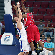 Olympiacos's Kyle HINES (R) during their Two Nations Cup basketball match Anadolu Efes between Olympiacos at Abdi Ipekci Arena in Istanbul Turkey on Sunday 02 October 2011. Photo by TURKPIX