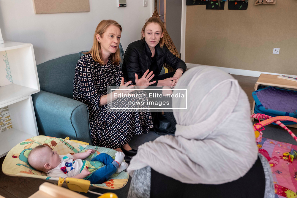 Pictured: Shirley-Ann Somerville <br /><br />Today Shirley-Ann Somerville MSP, Cabinet Secretary for Social Security, visited Stepping Stones inn Edinburgh and met parents who may be eligible for the Scottish Child payment, which is a new GBP10-a-week payment for every child aged up to six as part of measures to lift 30,000 children out of poverty.<br /><br />Ger Harley | EEm 4 September 2019