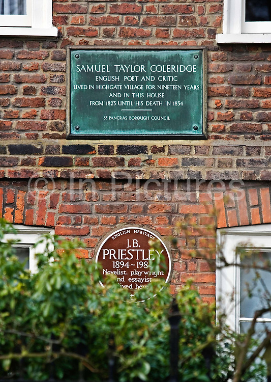 Two memorial plaques for S.T.Coleridge and J.B.Priestley on a house in Highgate village on the 25th March 2007, Highgate, London, United Kingdom. The village is at the top of North Hill which provides views across London. Until late Victorian times it was a distinct village outside London, sitting astride the main road to the north. Highgate is one of the most expensive London suburbs in which to live and has an active conservation body, the Highgate Society, to protect its character.